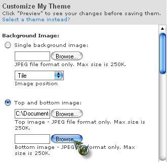 Với theme có 2 phần hình ảnh ở trên cùng và dưới cùng, click chọn Top and bottom image. Sau đó click vào Browse và chọn hình ảnh muốn dùng làm theme từ máy vi tinh của bạn (thực hiện Browse với cả Top image và Bottom image)